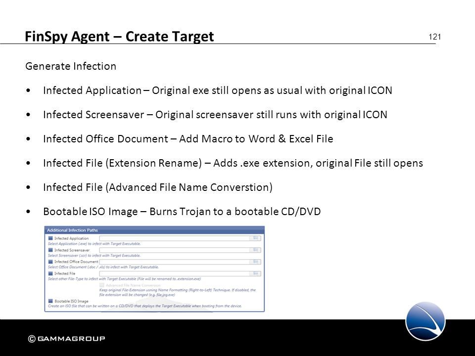 121 FinSpy Agent – Create Target Generate Infection Infected Application – Original exe still opens as usual with original ICON Infected Screensaver –