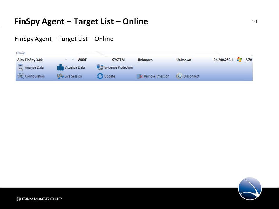 16 FinSpy Agent – Target List – Online