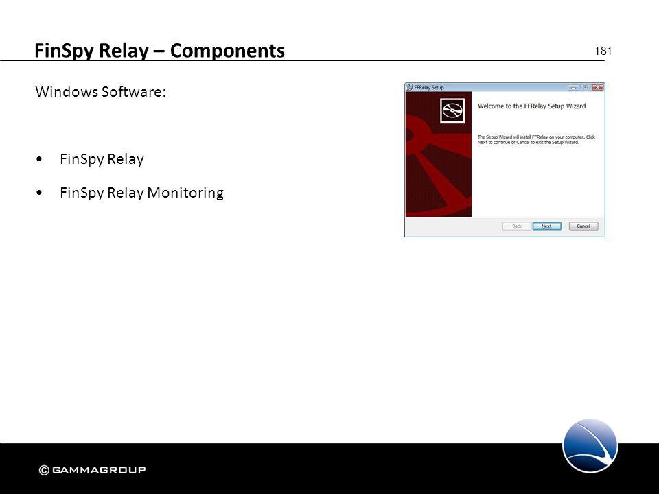 181 FinSpy Relay – Components Windows Software: FinSpy Relay FinSpy Relay Monitoring