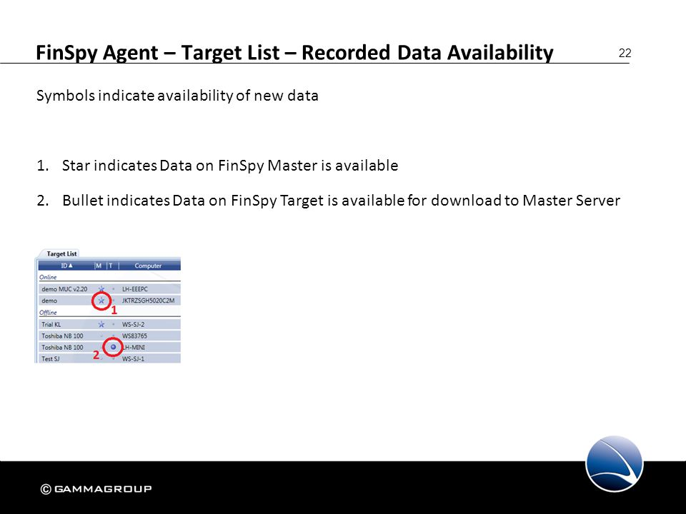 22 Symbols indicate availability of new data 1.Star indicates Data on FinSpy Master is available 2.Bullet indicates Data on FinSpy Target is available
