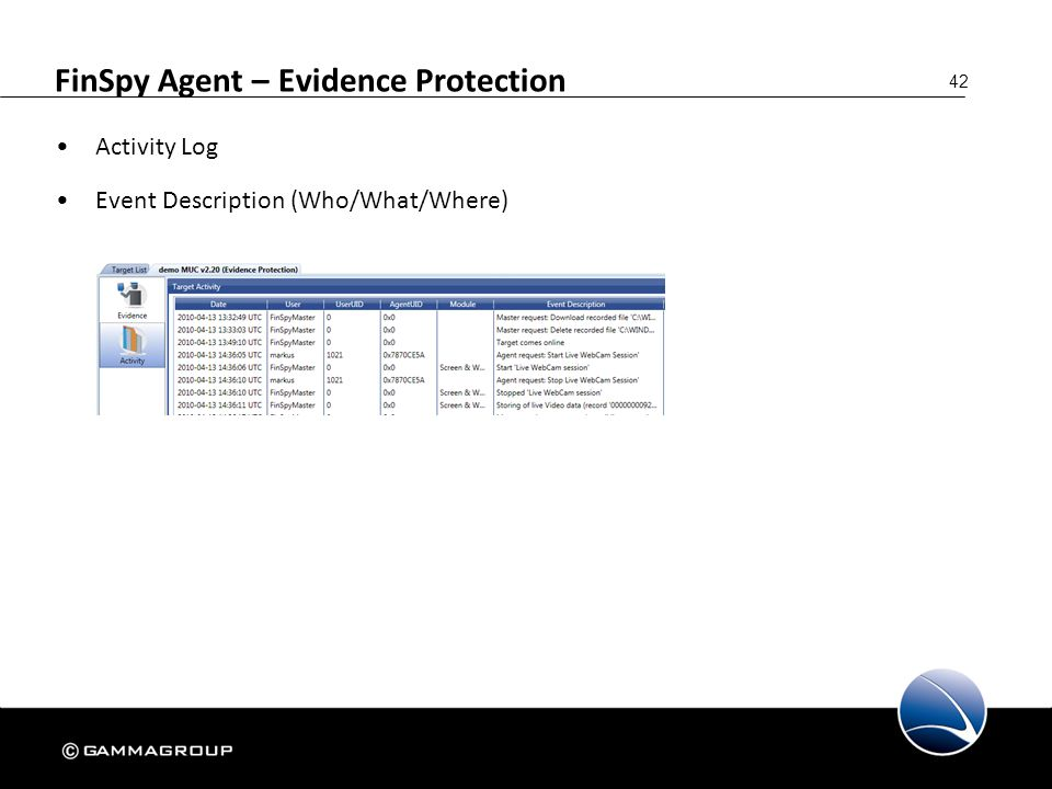 42 FinSpy Agent – Evidence Protection Activity Log Event Description (Who/What/Where)