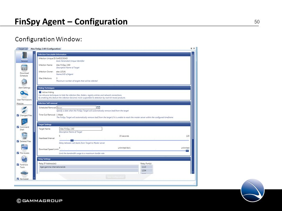50 FinSpy Agent – Configuration Configuration Window: