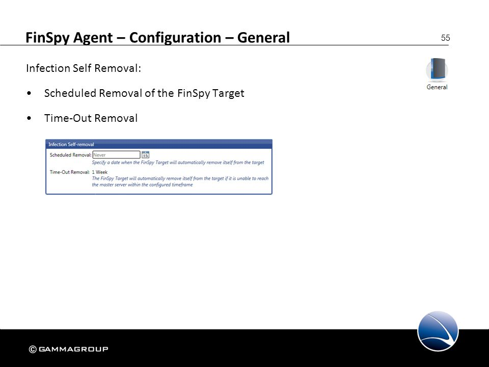 55 FinSpy Agent – Configuration – General Infection Self Removal: Scheduled Removal of the FinSpy Target Time-Out Removal
