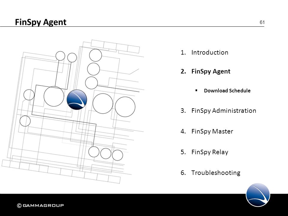 61 FinSpy Agent 1.Introduction 2.FinSpy Agent  Download Schedule 3.FinSpy Administration 4.FinSpy Master 5.FinSpy Relay 6.Troubleshooting