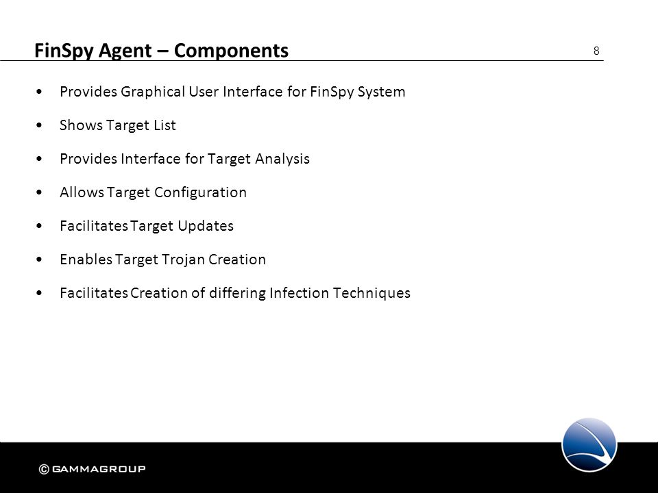 99 FinSpy Agent – Live Session – Hands-On Hands-On – 2: Select a Target Establish Forensic Tools Live Session Upload & Execute Application to FinSpy Target View the Data Remove the Application from FinSpy Target