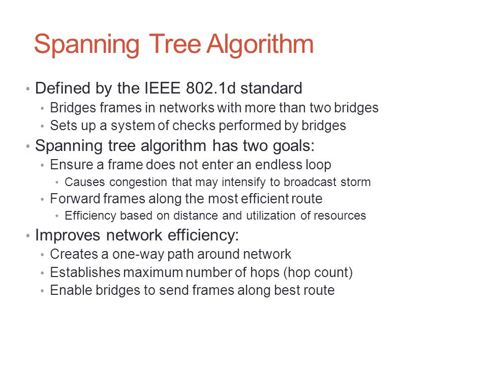 Spanning Tree Algorithm Defined by the IEEE 802.1d standard Bridges frames in networks with more than two bridges Sets up a system of checks performed