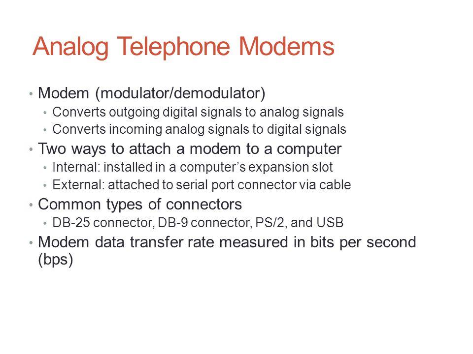 Analog Telephone Modems Modem (modulator/demodulator) Converts outgoing digital signals to analog signals Converts incoming analog signals to digital