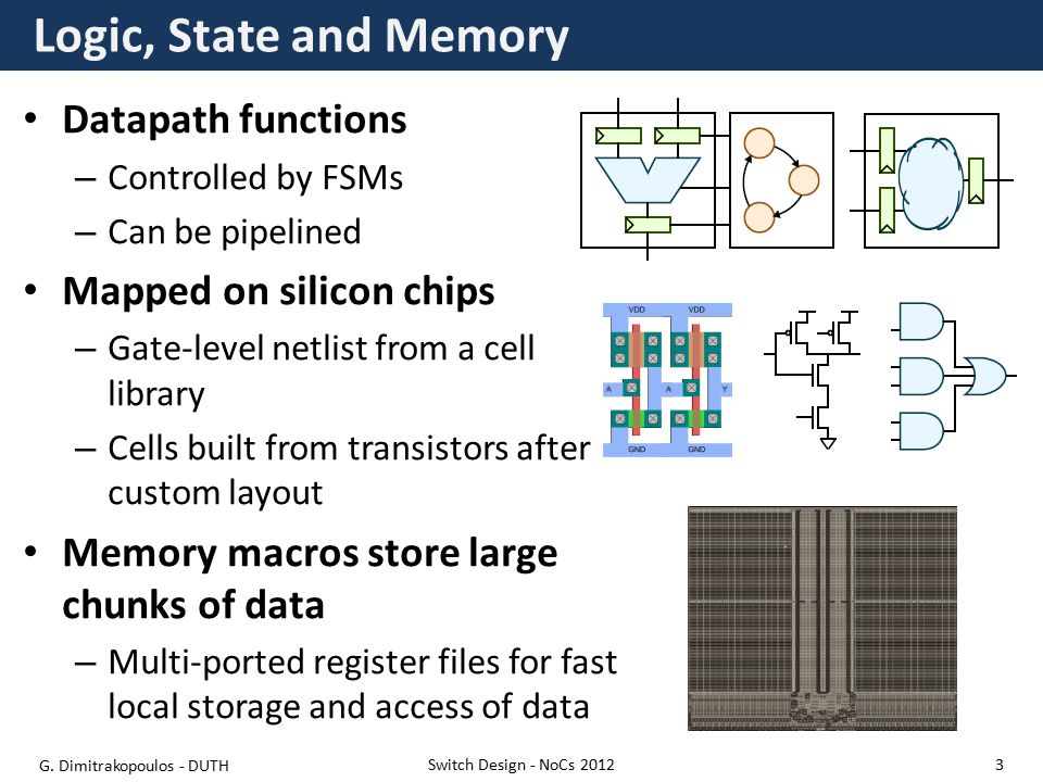 Logic, State and Memory Datapath functions – Controlled by FSMs – Can be pipelined Mapped on silicon chips – Gate-level netlist from a cell library – Cells built from transistors after custom layout Memory macros store large chunks of data – Multi-ported register files for fast local storage and access of data Switch Design - NoCs 2012 G.