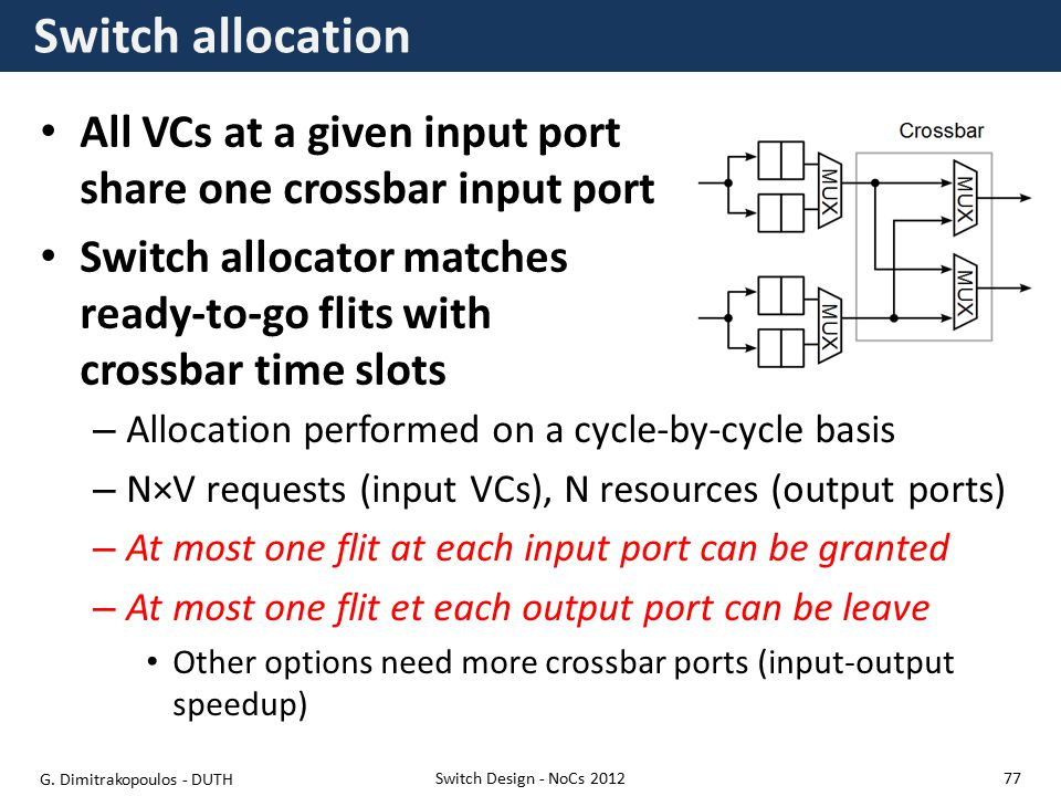 Switch allocation All VCs at a given input port share one crossbar input port Switch allocator matches ready-to-go flits with crossbar time slots Switch Design - NoCs 2012 – Allocation performed on a cycle-by-cycle basis – N×V requests (input VCs), N resources (output ports) – At most one flit at each input port can be granted – At most one flit et each output port can be leave Other options need more crossbar ports (input-output speedup) G.