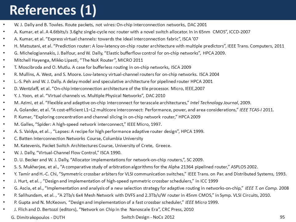 References (1) W. J. Dally and B. Towles.