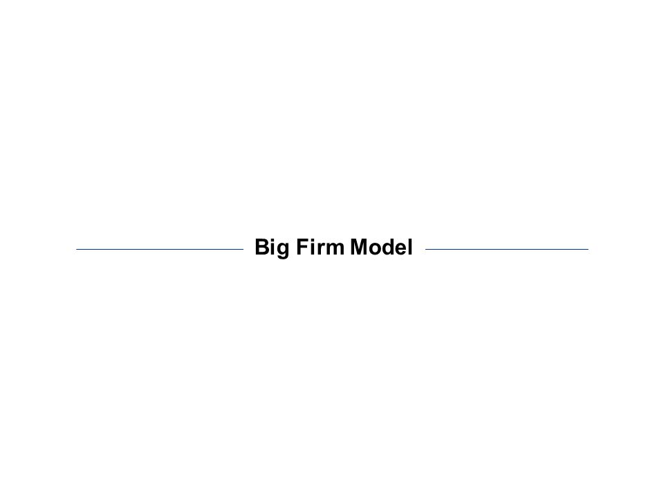 - 10 - The big firm model is the base from which all the other models are built Big Firm Model Demand Model Supply Model Disruptive Innovations