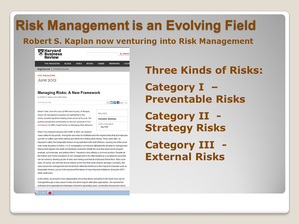 Risk Management is an Evolving Field Robert S.