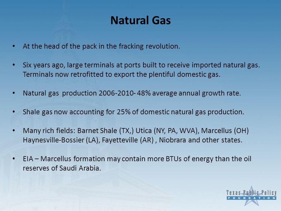 Natural Gas At the head of the pack in the fracking revolution.