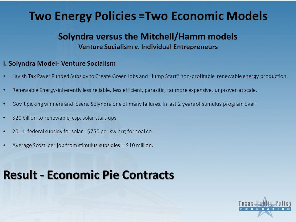 Two Energy Policies =Two Economic Models Solyndra versus the Mitchell/Hamm models Venture Socialism v.
