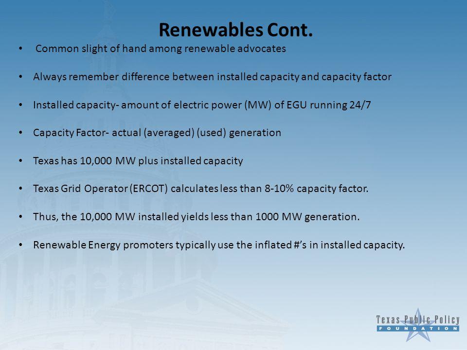 Renewables Cont.