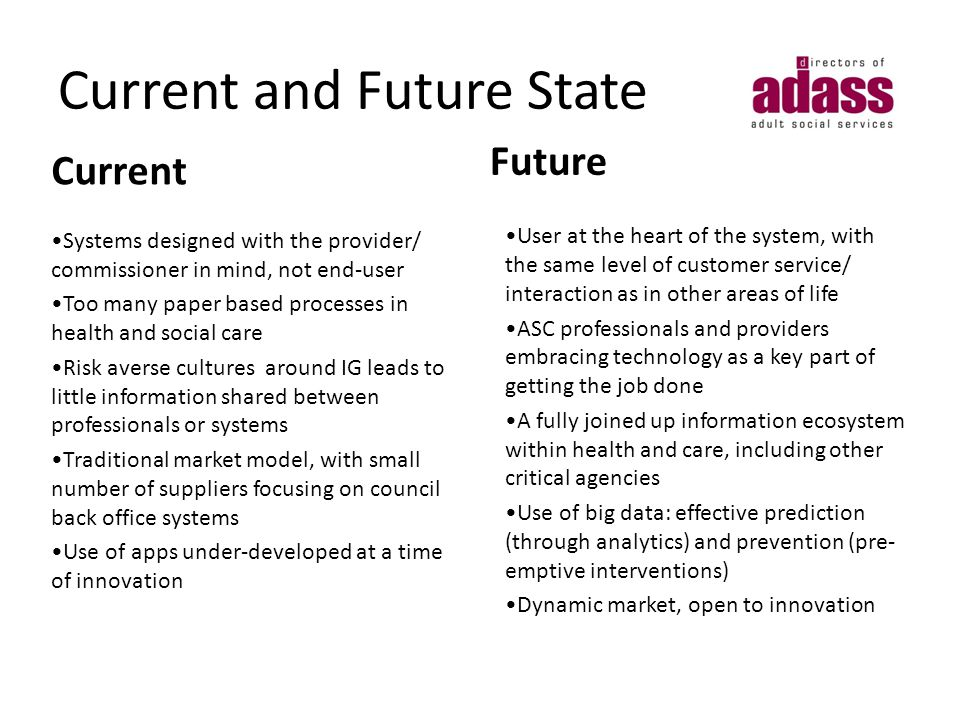 Current Systems designed with the provider/ commissioner in mind, not end-user Too many paper based processes in health and social care Risk averse cultures around IG leads to little information shared between professionals or systems Traditional market model, with small number of suppliers focusing on council back office systems Use of apps under-developed at a time of innovation Future User at the heart of the system, with the same level of customer service/ interaction as in other areas of life ASC professionals and providers embracing technology as a key part of getting the job done A fully joined up information ecosystem within health and care, including other critical agencies Use of big data: effective prediction (through analytics) and prevention (pre- emptive interventions) Dynamic market, open to innovation Current and Future State