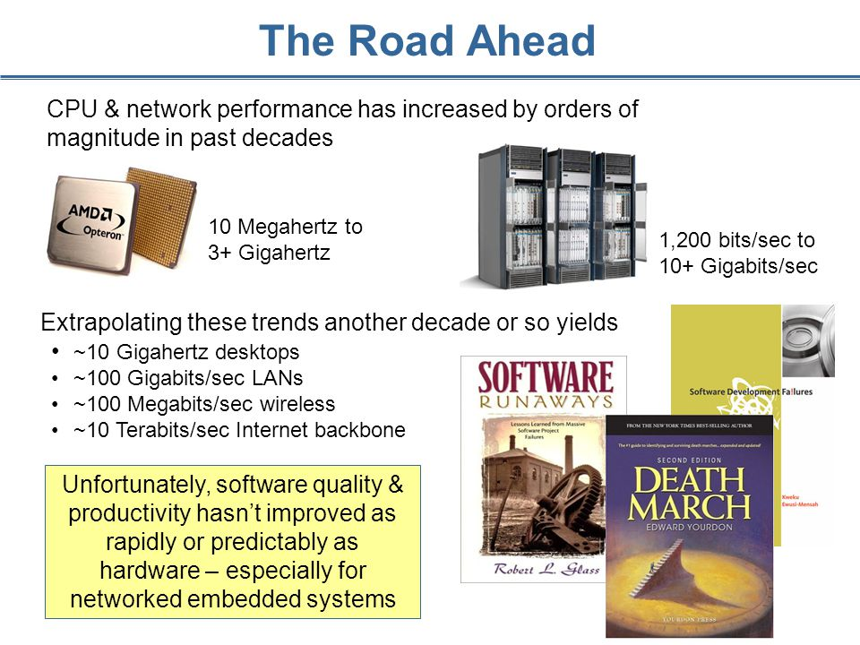 CPU & network performance has increased by orders of magnitude in past decades 1,200 bits/sec to 10+ Gigabits/sec The Road Ahead Extrapolating these trends another decade or so yields ~10 Gigahertz desktops ~100 Gigabits/sec LANs ~100 Megabits/sec wireless ~10 Terabits/sec Internet backbone 10 Megahertz to 3+ Gigahertz Unfortunately, software quality & productivity hasn't improved as rapidly or predictably as hardware – especially for networked embedded systems