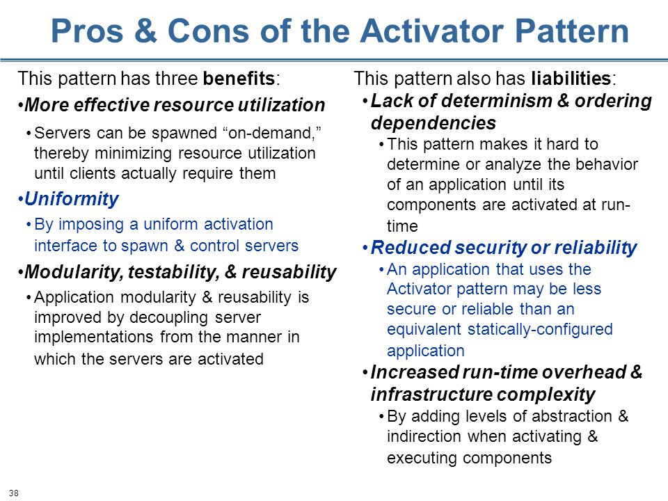 38 Pros & Cons of the Activator Pattern This pattern has three benefits: More effective resource utilization Servers can be spawned on-demand, thereby minimizing resource utilization until clients actually require them Uniformity By imposing a uniform activation interface to spawn & control servers Modularity, testability, & reusability Application modularity & reusability is improved by decoupling server implementations from the manner in which the servers are activated This pattern also has liabilities: Lack of determinism & ordering dependencies This pattern makes it hard to determine or analyze the behavior of an application until its components are activated at run- time Reduced security or reliability An application that uses the Activator pattern may be less secure or reliable than an equivalent statically-configured application Increased run-time overhead & infrastructure complexity By adding levels of abstraction & indirection when activating & executing components