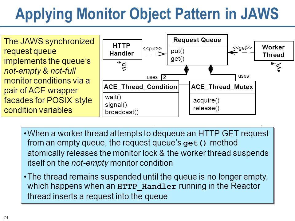 74 Applying Monitor Object Pattern in JAWS The JAWS synchronized request queue implements the queue's not-empty & not-full monitor conditions via a pair of ACE wrapper facades for POSIX-style condition variables uses 2 Request Queue put() get() ACE_Thread_Mutex acquire() release() HTTP Handler ACE_Thread_Condition wait() signal() broadcast() Worker Thread > When a worker thread attempts to dequeue an HTTP GET request from an empty queue, the request queue's get() method atomically releases the monitor lock & the worker thread suspends itself on the not-empty monitor condition The thread remains suspended until the queue is no longer empty, which happens when an HTTP_Handler running in the Reactor thread inserts a request into the queue When a worker thread attempts to dequeue an HTTP GET request from an empty queue, the request queue's get() method atomically releases the monitor lock & the worker thread suspends itself on the not-empty monitor condition The thread remains suspended until the queue is no longer empty, which happens when an HTTP_Handler running in the Reactor thread inserts a request into the queue