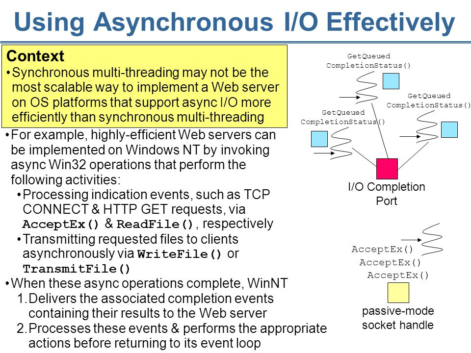 82 Using Asynchronous I/O Effectively Context Synchronous multi-threading may not be the most scalable way to implement a Web server on OS platforms that support async I/O more efficiently than synchronous multi-threading passive-mode socket handle AcceptEx() I/O Completion Port GetQueued CompletionStatus() GetQueued CompletionStatus() GetQueued CompletionStatus() When these async operations complete, WinNT 1.Delivers the associated completion events containing their results to the Web server 2.Processes these events & performs the appropriate actions before returning to its event loop For example, highly-efficient Web servers can be implemented on Windows NT by invoking async Win32 operations that perform the following activities: Processing indication events, such as TCP CONNECT & HTTP GET requests, via AcceptEx() & ReadFile(), respectively Transmitting requested files to clients asynchronously via WriteFile() or TransmitFile()