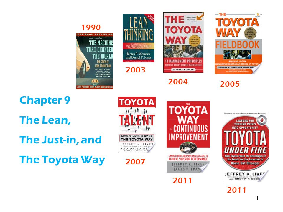1 Chapter 9 The Lean, The Just-in, and The Toyota Way 2011 2007 2005 2004 2011 1990 2003