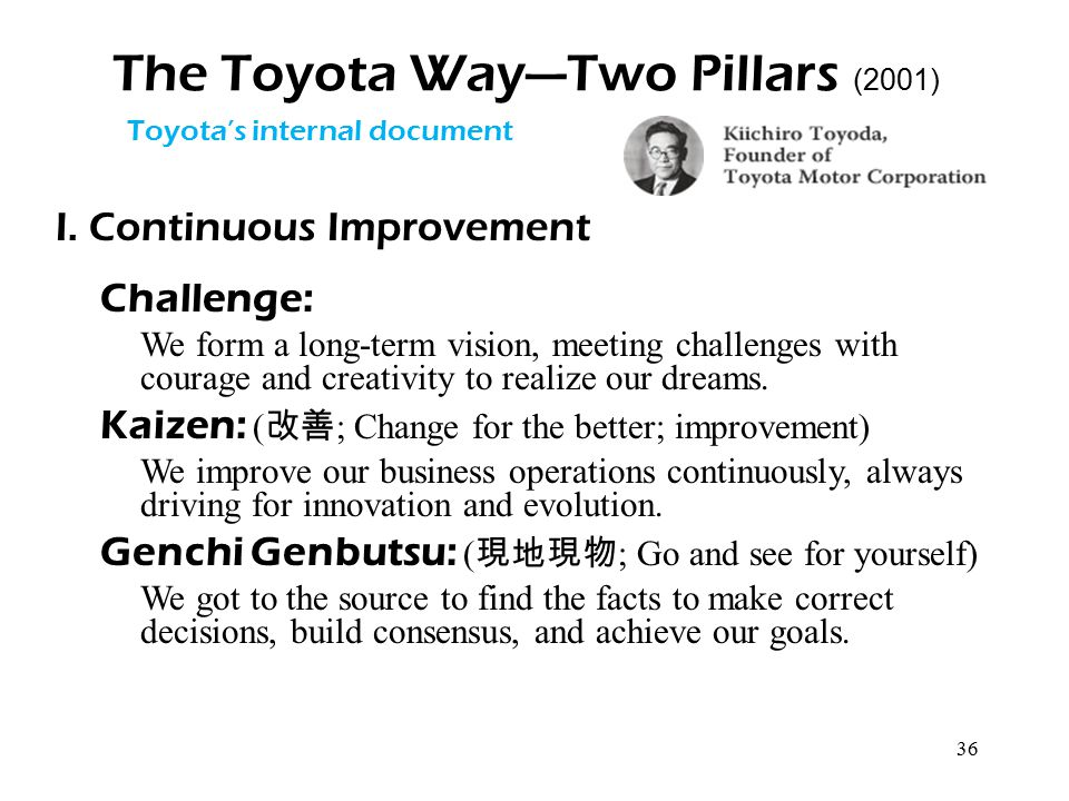 36 The Toyota Way—Two Pillars (2001) I. Continuous Improvement Challenge: We form a long-term vision, meeting challenges with courage and creativity t