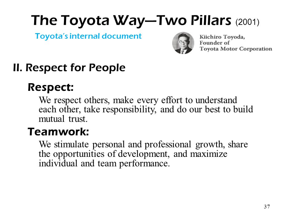 37 The Toyota Way—Two Pillars (2001) II. Respect for People Respect: We respect others, make every effort to understand each other, take responsibilit