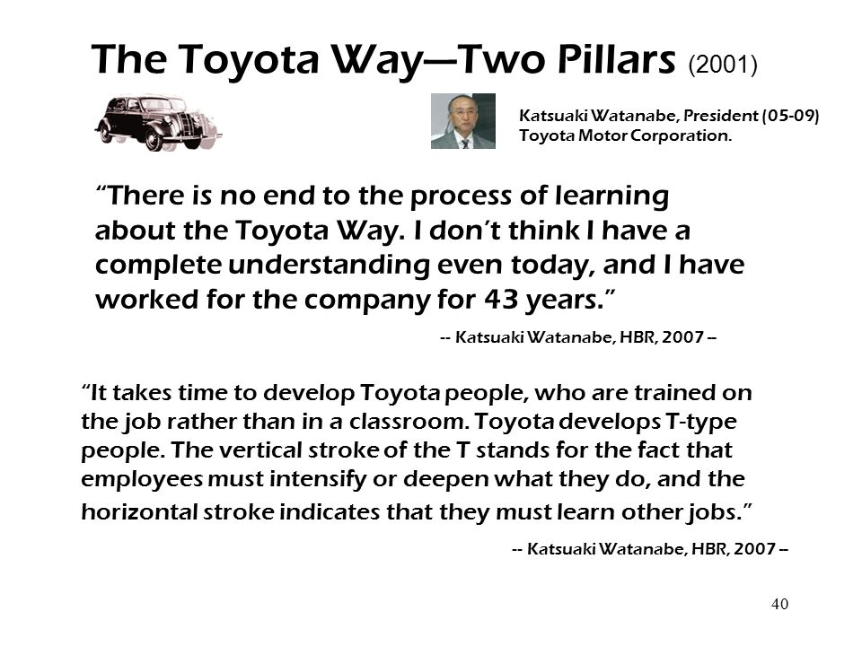 """40 The Toyota Way—Two Pillars (2001) Katsuaki Watanabe, President (05-09) Toyota Motor Corporation. """"There is no end to the process of learning about"""