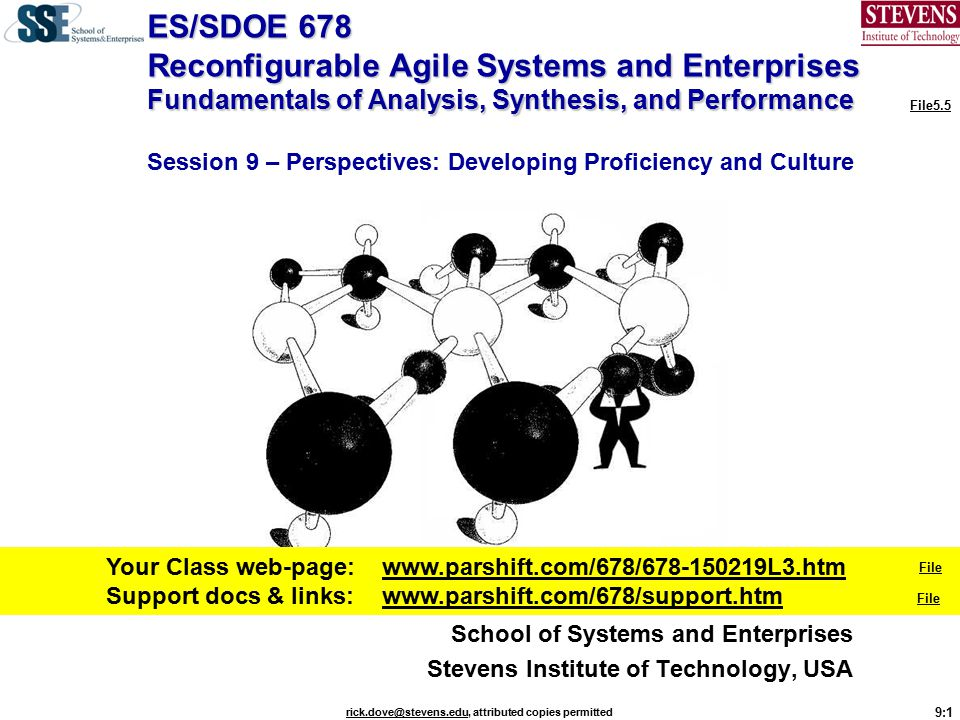 9:32 rick.dove@stevens.edurick.dove@stevens.edu, attributed copies permitted Agile-Systems Engineering 1/6 This section focuses first on fundamental needs, definitions, and necessary and sufficient enabling concepts for agile systems of any kind – including processes, major systems, products, organizations, and human endeavors [1, 2].