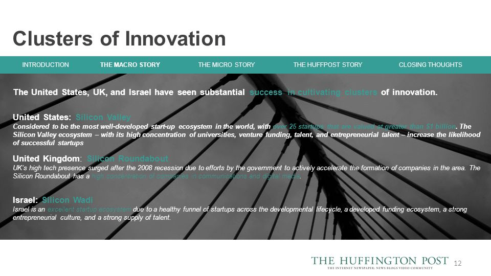The United States, UK, and Israel have seen substantial success in cultivating clusters of innovation.