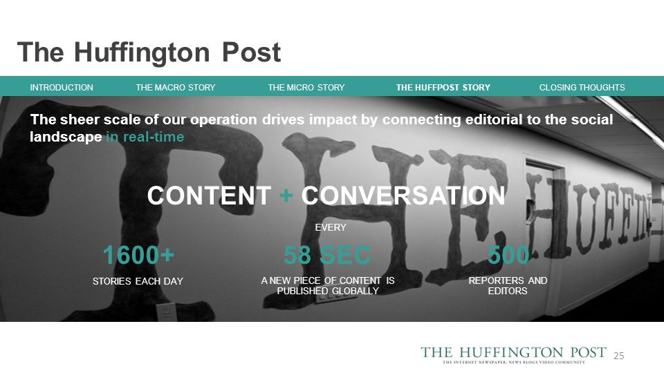 The Huffington Post 25 INTRODUCTION THE MACRO STORY THE MICRO STORY CLOSING THOUGHTS THE HUFFPOST STORY 58 SEC A NEW PIECE OF CONTENT IS PUBLISHED GLOBALLY 1600+ STORIES EACH DAY EVERY 500 REPORTERS AND EDITORS CONTENT + CONVERSATION The sheer scale of our operation drives impact by connecting editorial to the social landscape in real-time