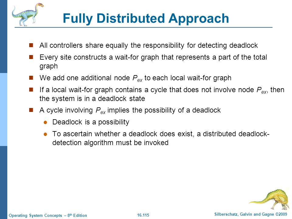 16.115 Silberschatz, Galvin and Gagne ©2009 Operating System Concepts – 8 th Edition Fully Distributed Approach All controllers share equally the resp