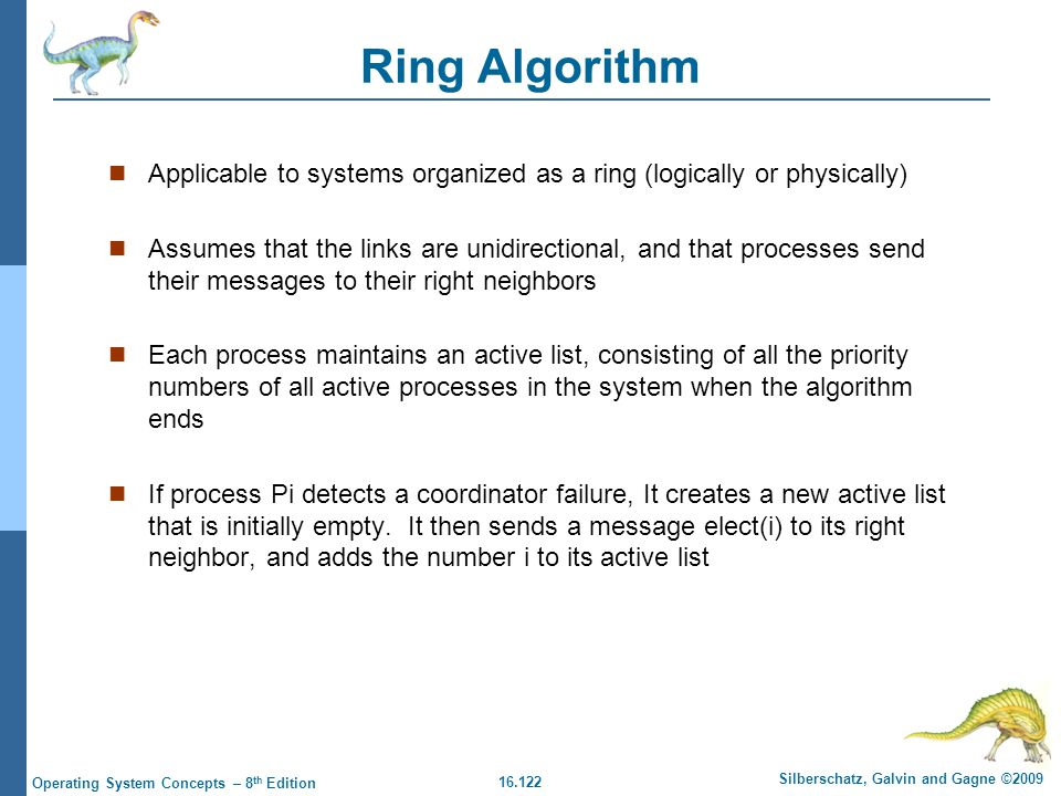 16.122 Silberschatz, Galvin and Gagne ©2009 Operating System Concepts – 8 th Edition Ring Algorithm Applicable to systems organized as a ring (logical