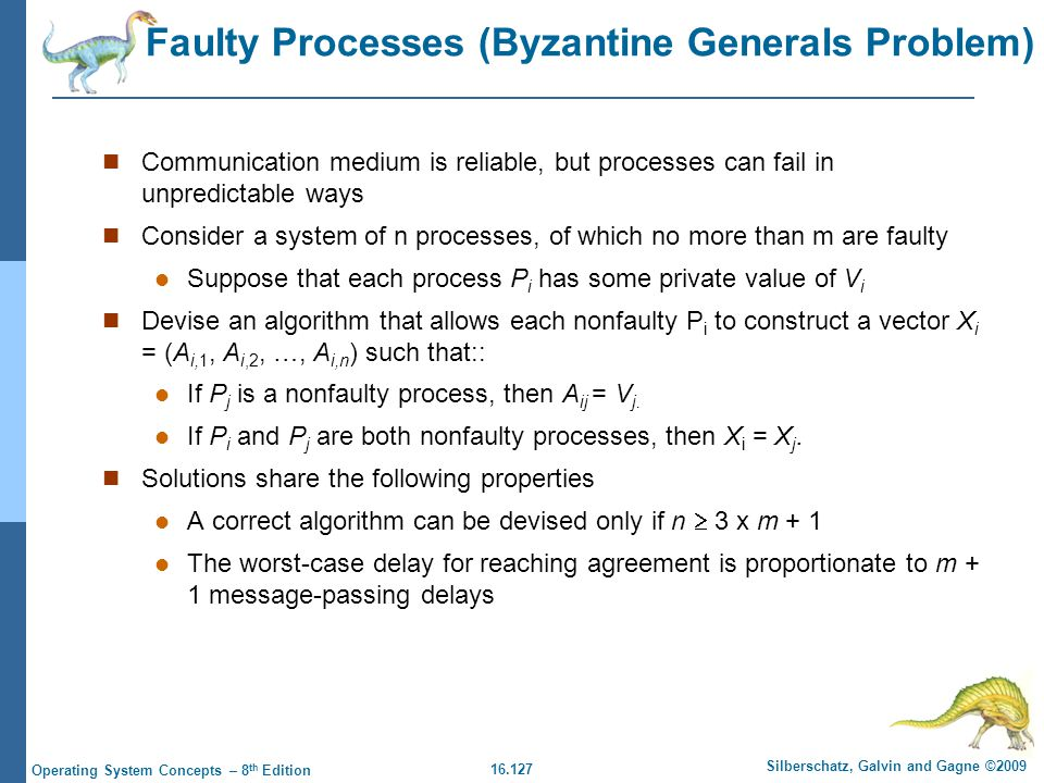 16.127 Silberschatz, Galvin and Gagne ©2009 Operating System Concepts – 8 th Edition Faulty Processes (Byzantine Generals Problem) Communication mediu