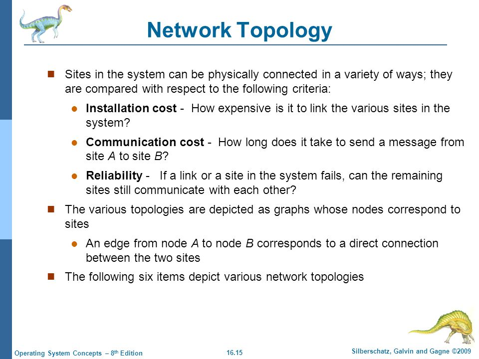 16.15 Silberschatz, Galvin and Gagne ©2009 Operating System Concepts – 8 th Edition Network Topology Sites in the system can be physically connected i