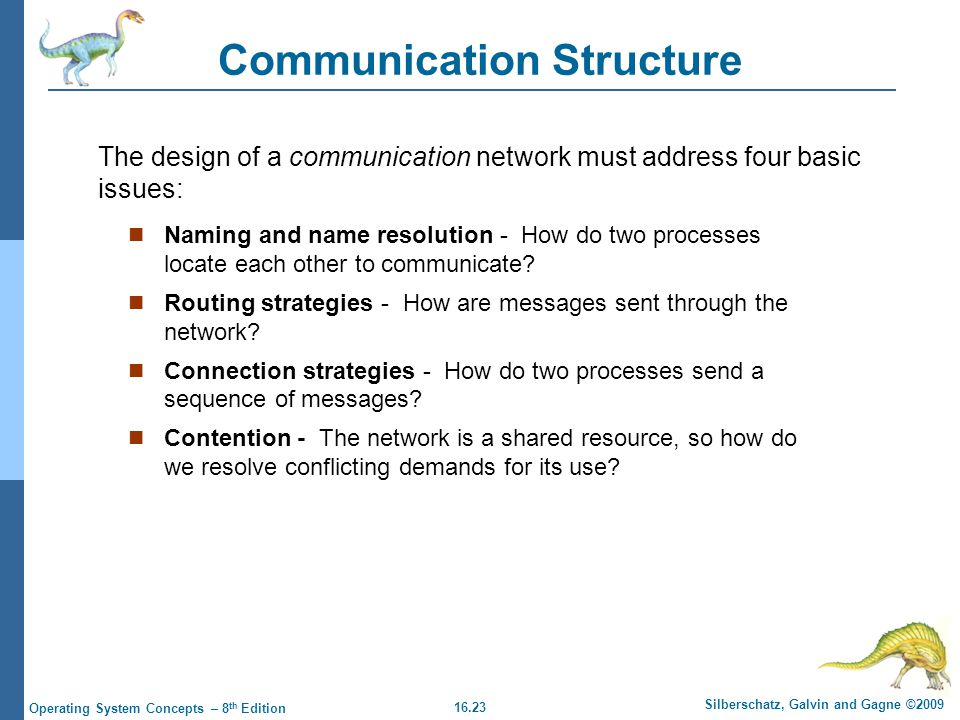 16.23 Silberschatz, Galvin and Gagne ©2009 Operating System Concepts – 8 th Edition Communication Structure Naming and name resolution - How do two pr