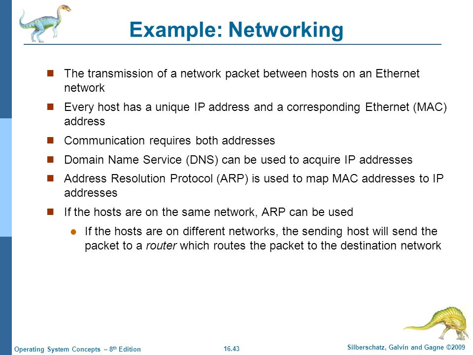 16.43 Silberschatz, Galvin and Gagne ©2009 Operating System Concepts – 8 th Edition Example: Networking The transmission of a network packet between h