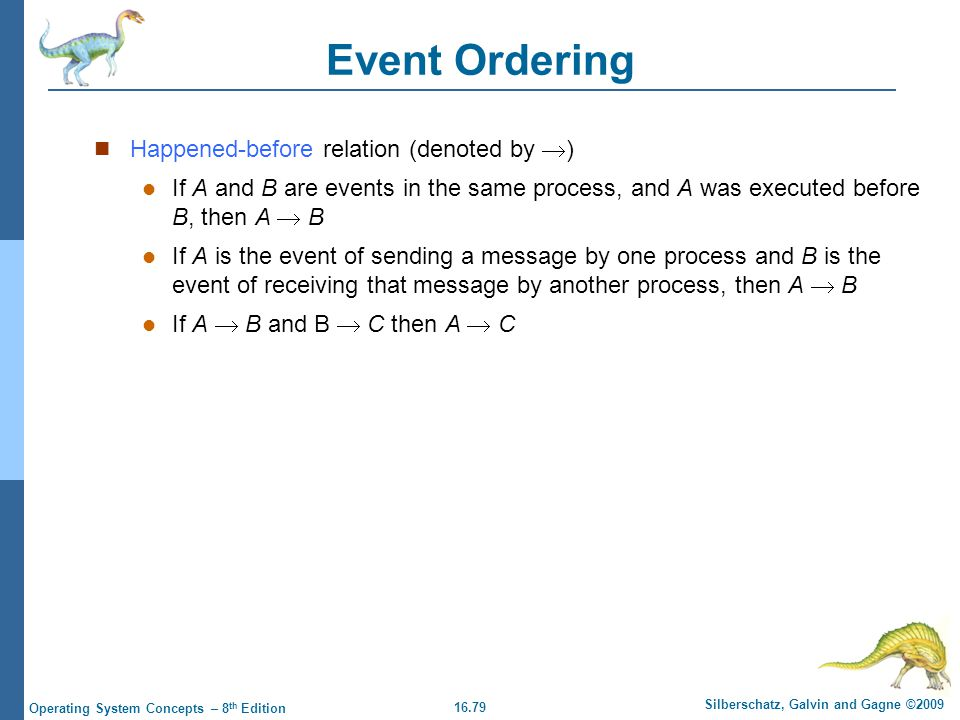 16.79 Silberschatz, Galvin and Gagne ©2009 Operating System Concepts – 8 th Edition Event Ordering Happened-before relation (denoted by  ) If A and B