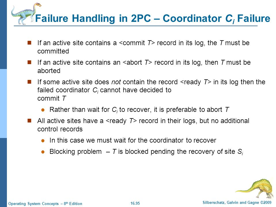 16.95 Silberschatz, Galvin and Gagne ©2009 Operating System Concepts – 8 th Edition Failure Handling in 2PC – Coordinator C i Failure If an active sit