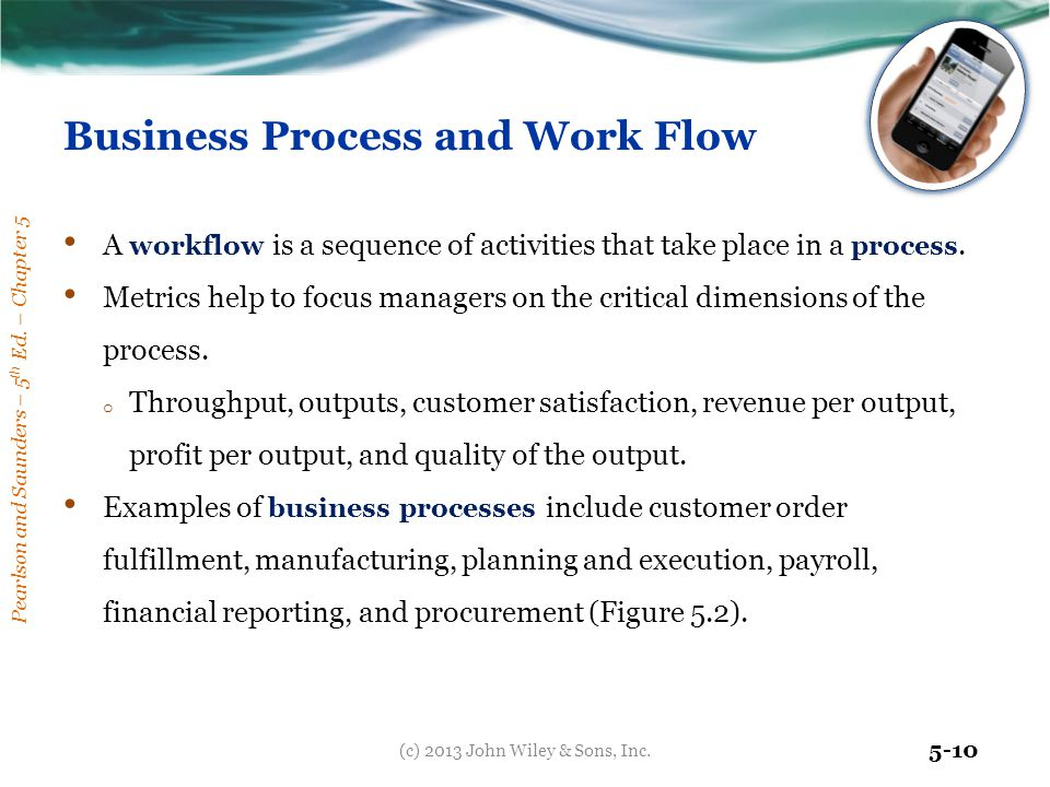 Pearlson and Saunders – 5 th Ed. – Chapter 5 5-10 Business Process and Work Flow A workflow is a sequence of activities that take place in a process.