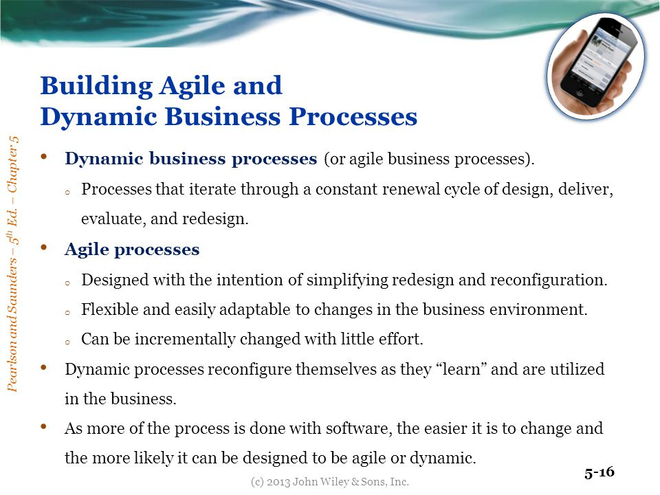 Pearlson and Saunders – 5 th Ed. – Chapter 5 5-16 Building Agile and Dynamic Business Processes Dynamic business processes (or agile business processe