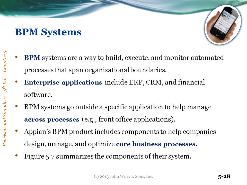 Pearlson and Saunders – 5 th Ed. – Chapter 5 5-28 BPM Systems BPM systems are a way to build, execute, and monitor automated processes that span organ