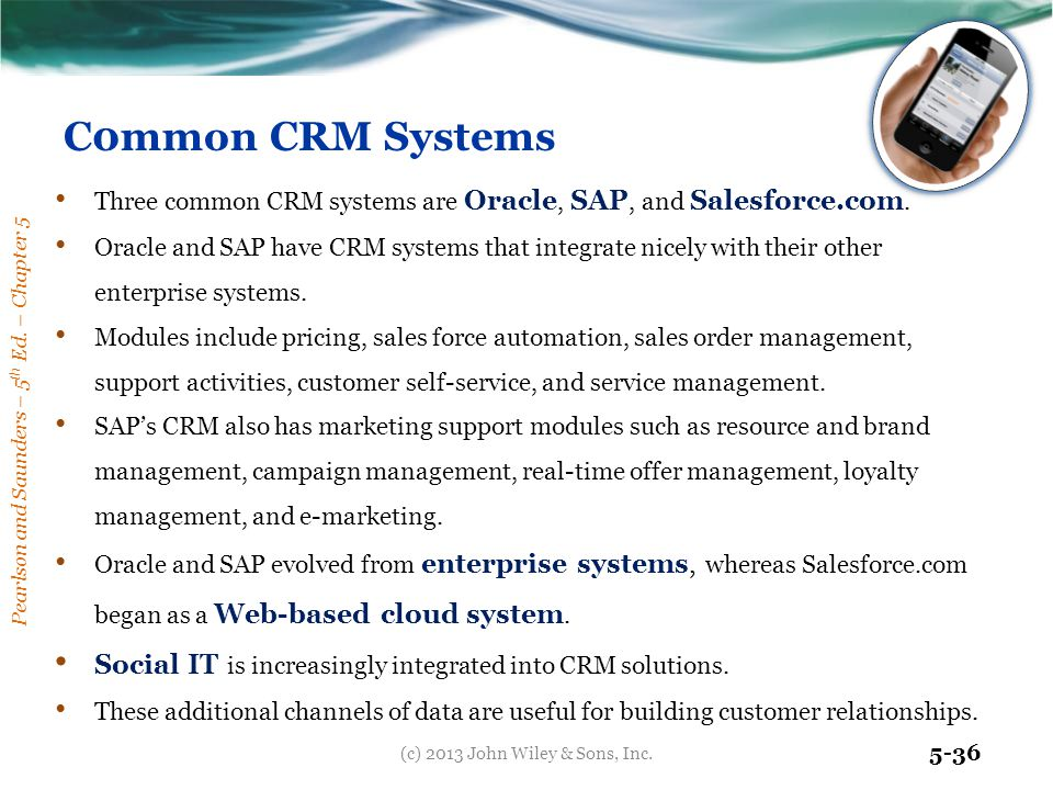 Pearlson and Saunders – 5 th Ed. – Chapter 5 5-36 C0mmon CRM Systems Three common CRM systems are Oracle, SAP, and Salesforce.com. Oracle and SAP have