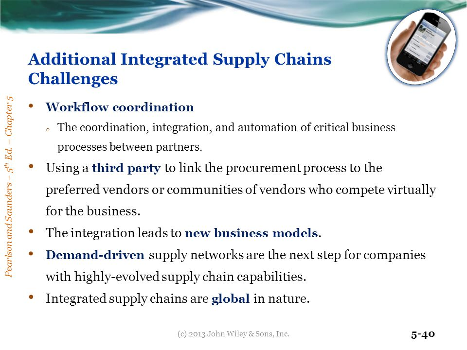 Pearlson and Saunders – 5 th Ed. – Chapter 5 5-40 Additional Integrated Supply Chains Challenges Workflow coordination o The coordination, integration