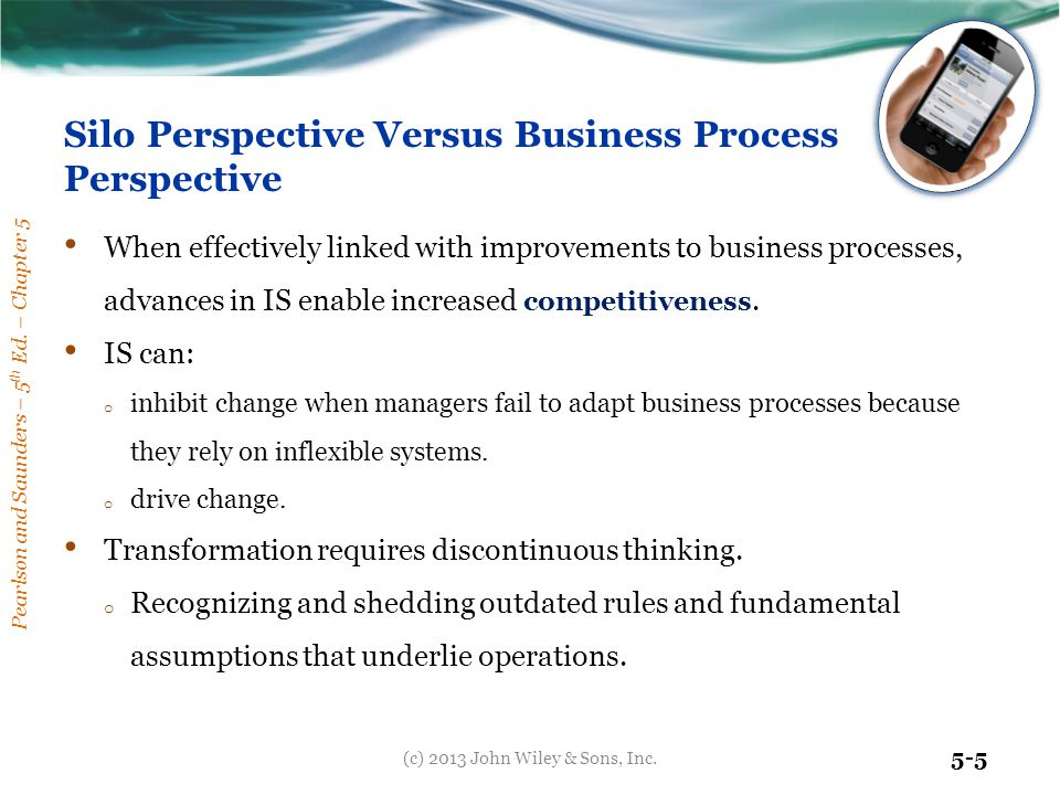 Pearlson and Saunders – 5 th Ed. – Chapter 5 5-5 Silo Perspective Versus Business Process Perspective When effectively linked with improvements to bus