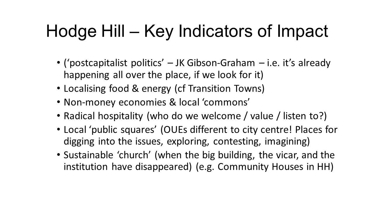Hodge Hill – Key Indicators of Impact ('postcapitalist politics' – JK Gibson-Graham – i.e.