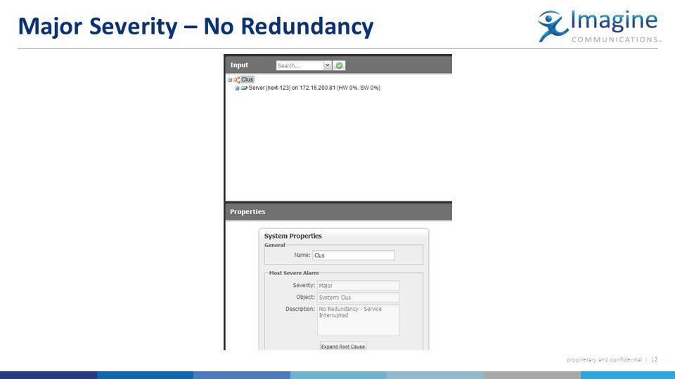proprietary and confidential | 12 Major Severity – No Redundancy
