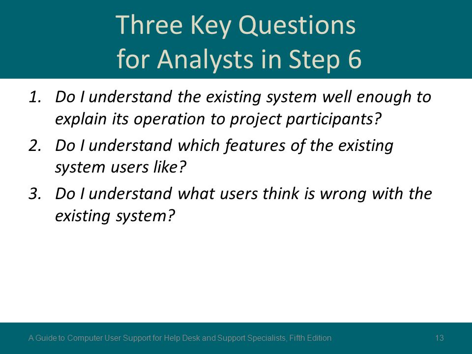 Three Key Questions for Analysts in Step 6 1.Do I understand the existing system well enough to explain its operation to project participants? 2.Do I