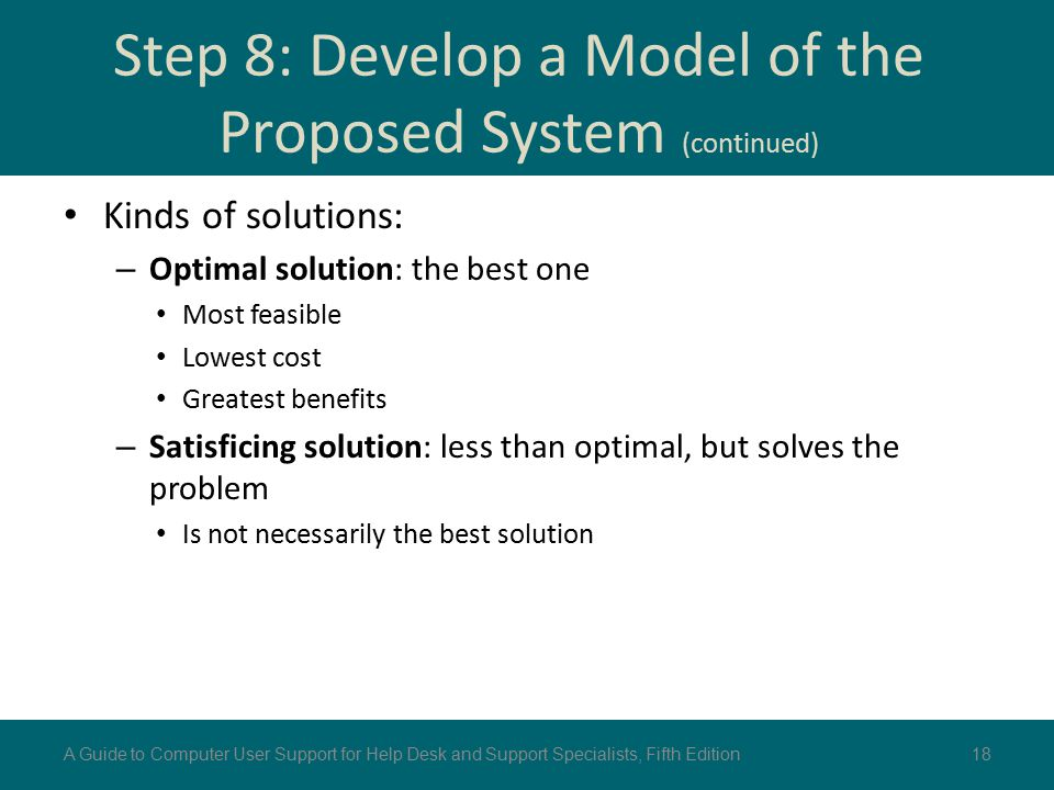 Step 8: Develop a Model of the Proposed System (continued) Kinds of solutions: – Optimal solution: the best one Most feasible Lowest cost Greatest ben