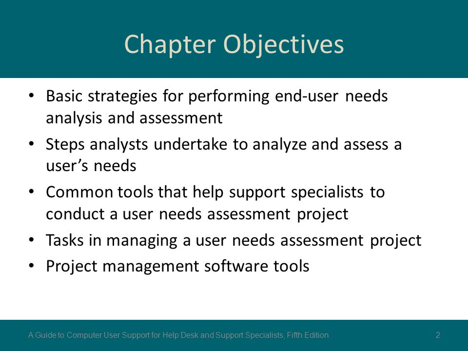 Chapter Objectives Basic strategies for performing end-user needs analysis and assessment Steps analysts undertake to analyze and assess a user's need